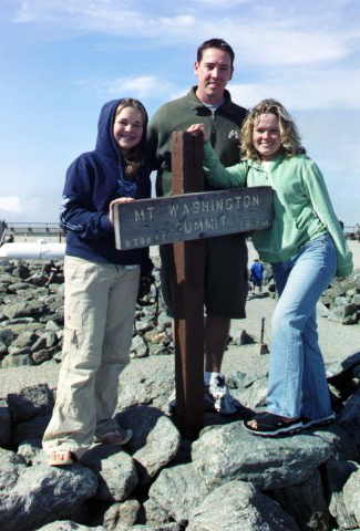 Melissa, Pete, and Courtnei at the Mt. Washington Summit. Photo by Lee Fassel (my dad)