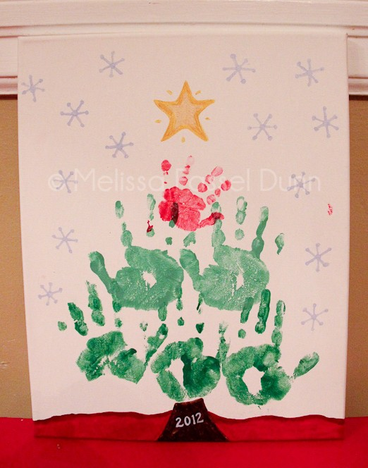 Handprint Christmas Tree on Canvas