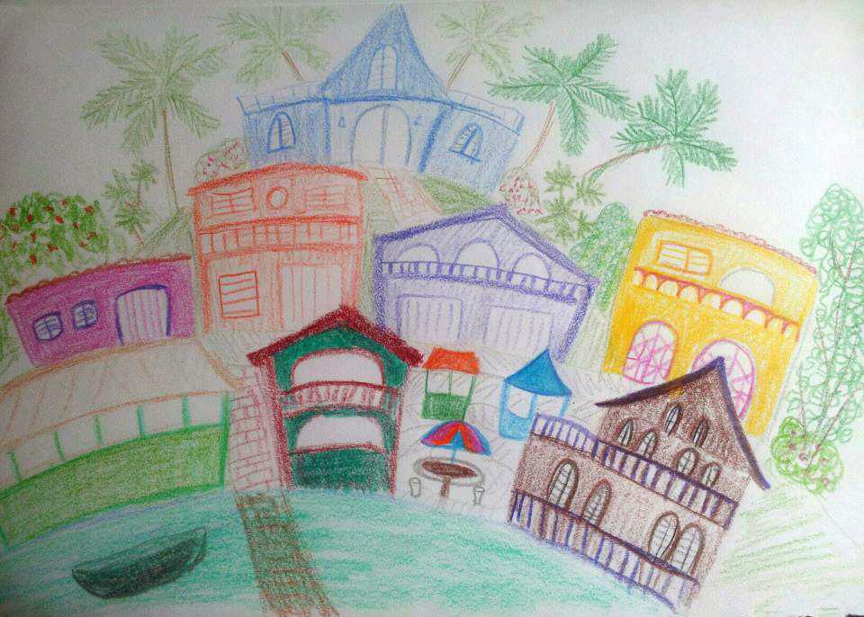 Sketch of Boqueron, Cabo Rojo, Puerto Rico by Melissa Fassel Dunn